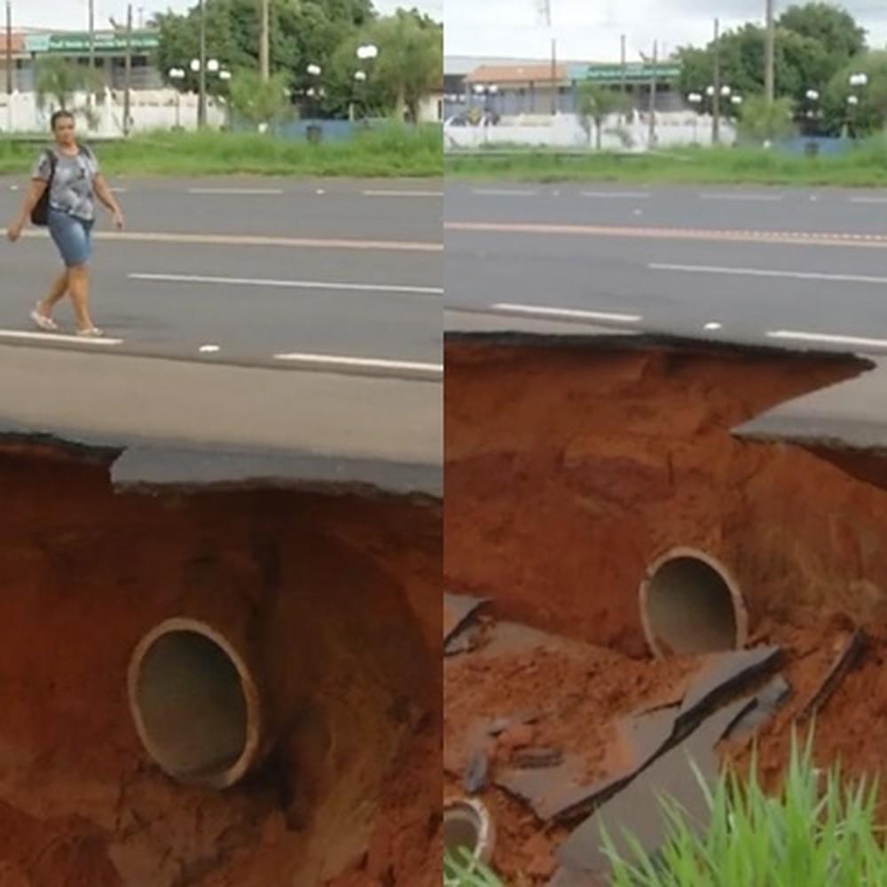 Pedestres se arriscam para ver erosão em rodovia de Quintana