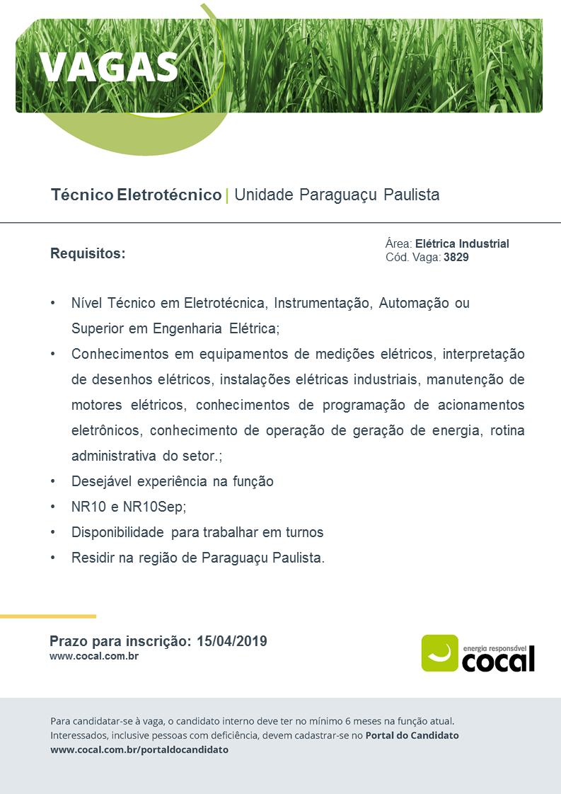 Cocal de Paraguaçu contrata Técnico Eletrotécnico