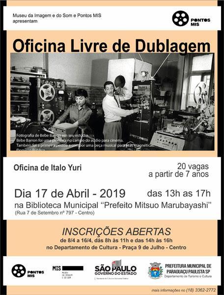 Oficina Livre de Dublagem está com inscrições abertas em Paraguaçu