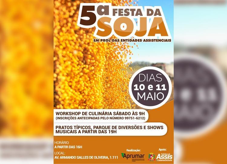Festa da Soja será nos dias 10 e 11 de maio na APRUMAR