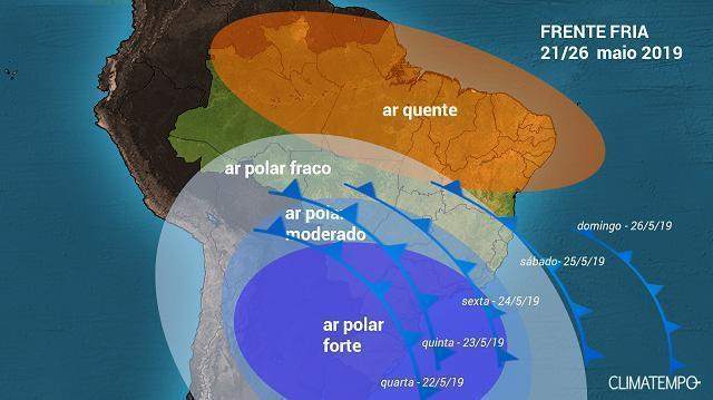 Forte massa de ar frio avança sobre o Brasil