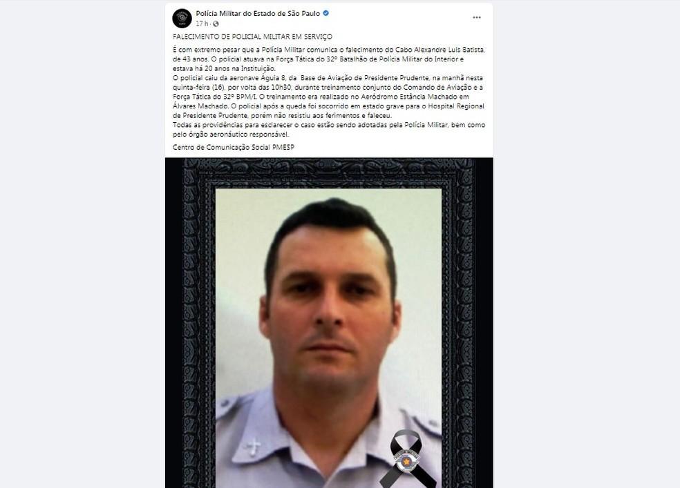 Policial que caiu do helicóptero Águia morreu um dia antes de completar 44 anos: 'Sentimento é profundo', diz tio